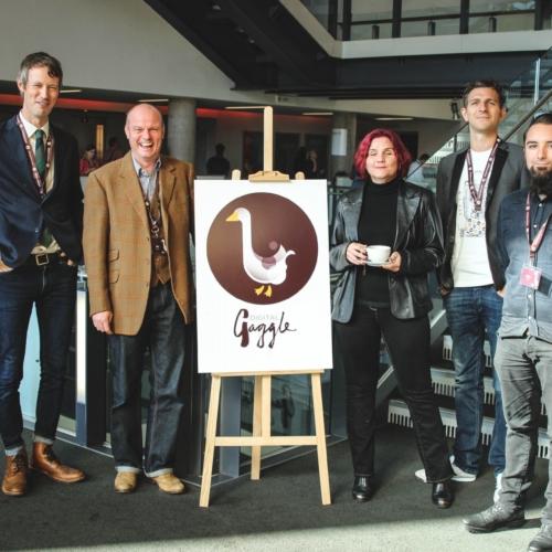 James Caig, Jon Payne, Leonie Watson, Pat Wood and Adam Babajee-Pycroft in group speaker photo