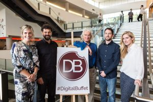 Sharon Tanton, David Sloly, Martin Warnes Joe Tuckwell and Natasha Baldwin stood for a group photo at Digital Gaggle