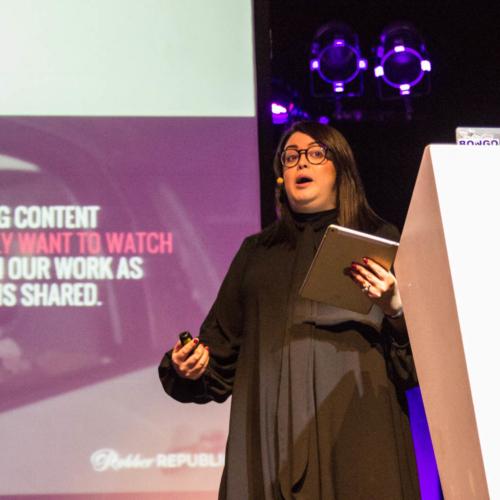 Tiff Maddox on stage presenting at Digital Gaggle