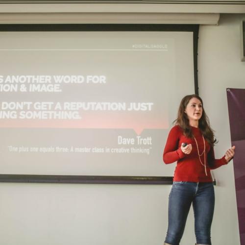 Aisha Kellaway presenting at Digital Gaggle