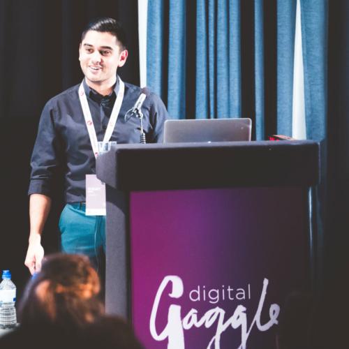 Sunjay Singh onstage at Digital Gaggle