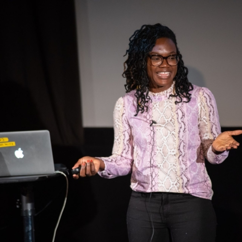 Miracle presenting her talk during the breakout sessions