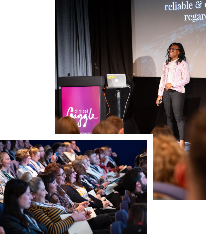 Photo of speaker on stage at Digital Gaggle and photo of audience