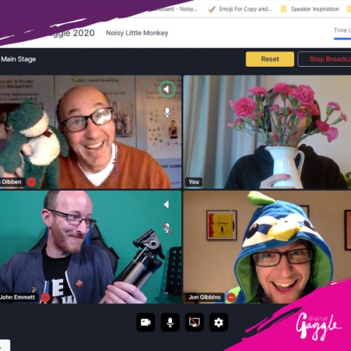 A few of the speakers and presenters on a shared screen smiling and wearing silly hats